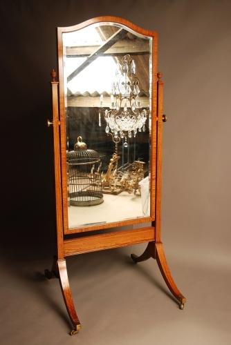 Large Edwardian satinwood cheval mirror