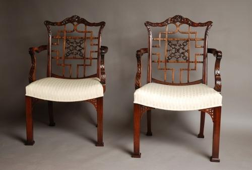Pair of mahogany armchairs