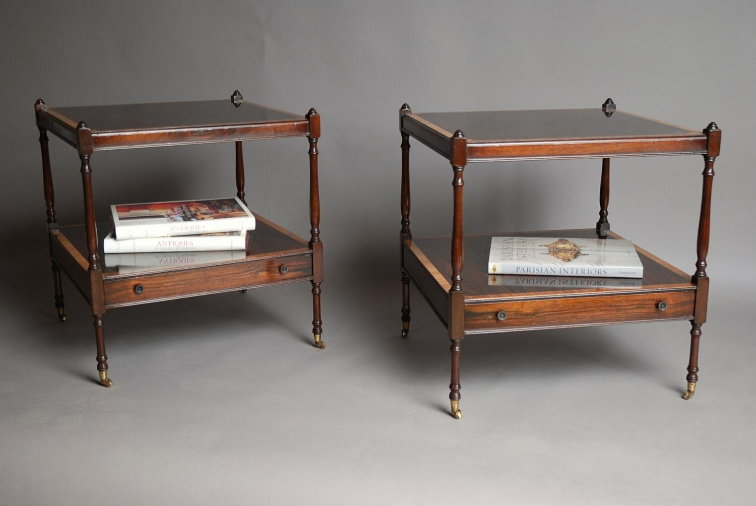 Pair of rosewood low tables