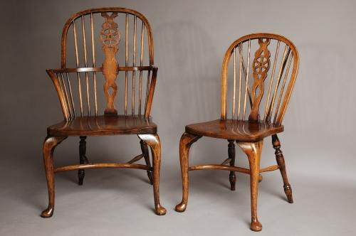 Set of eight wheelback windsor chairs