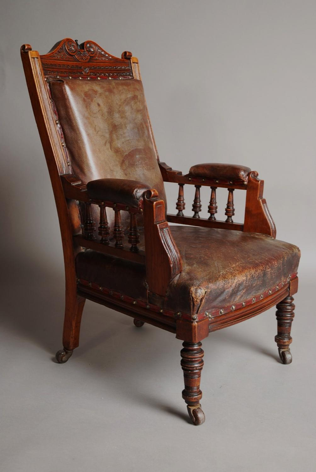 Mahogany and leather large childs armchair in Chairs