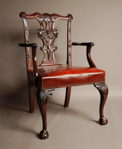 Chippendale style mahogany open armchair