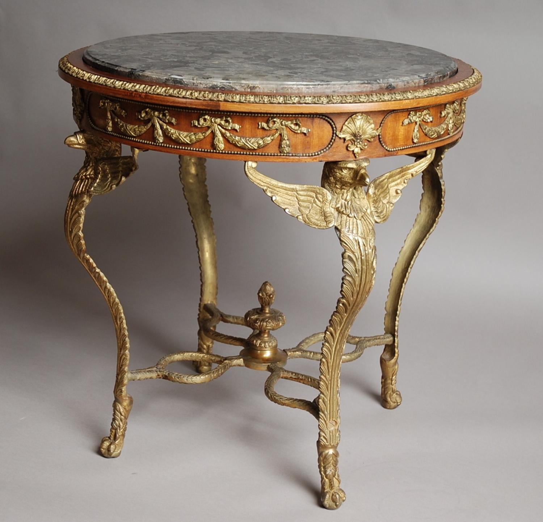 Mahogany & gilt French centre table