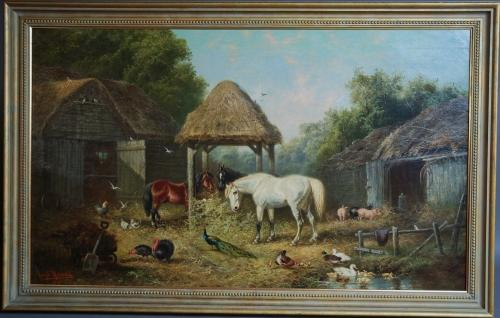 A Farmyard Scene, oil on canvas