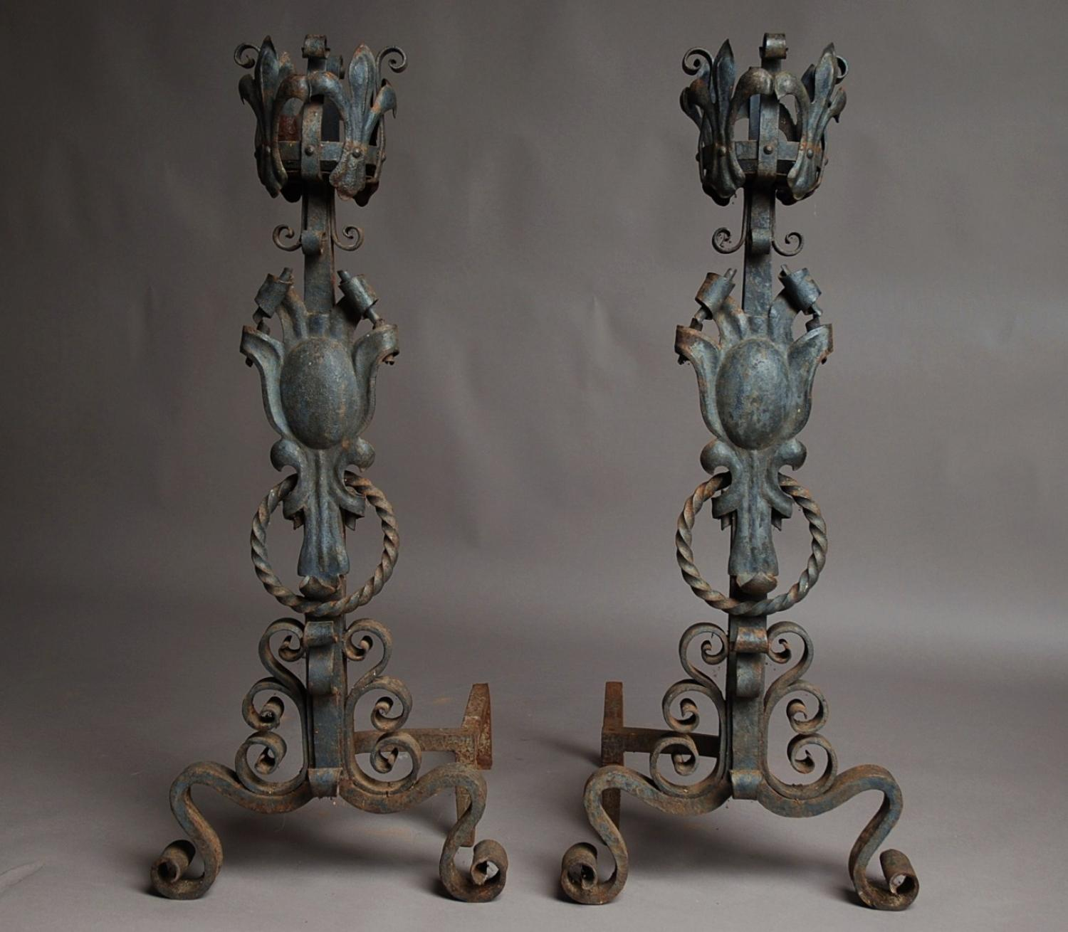 Large pair of wrought iron andirons