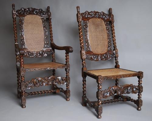Set of 10 walnut chairs