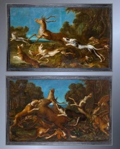 Large Pair of 'Stag Hunt' oil paintings