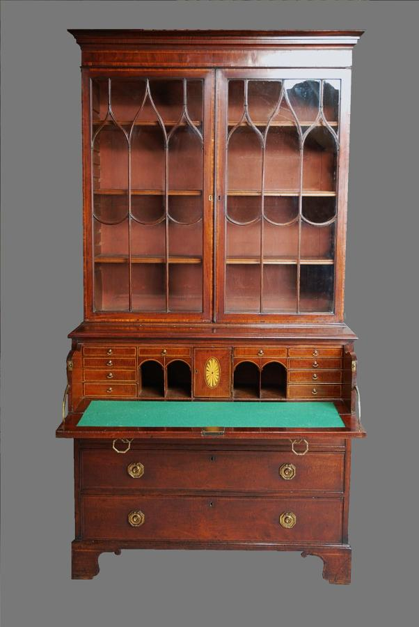 Mahogany secretaire bookcase of good colour