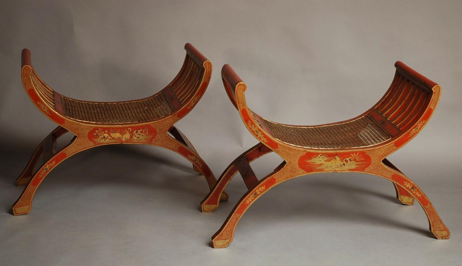 Pair of red lacquered Chinoiserie stools