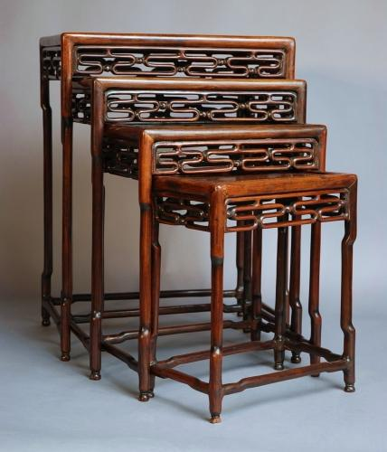 'Quartetto' set of Chinese hardwood tables