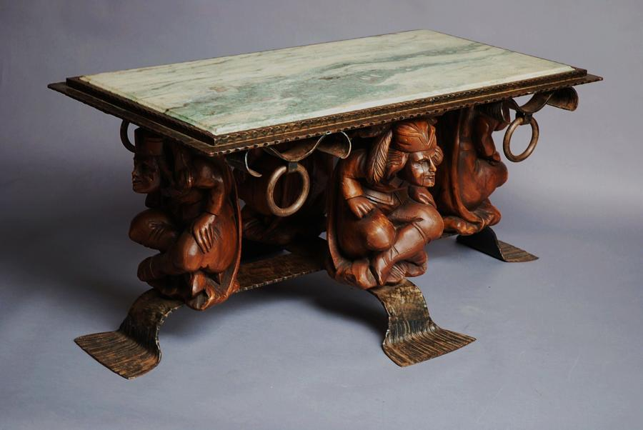Decorative marble top coffee table