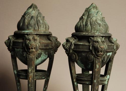 Pair of bronze Italian flambeaux