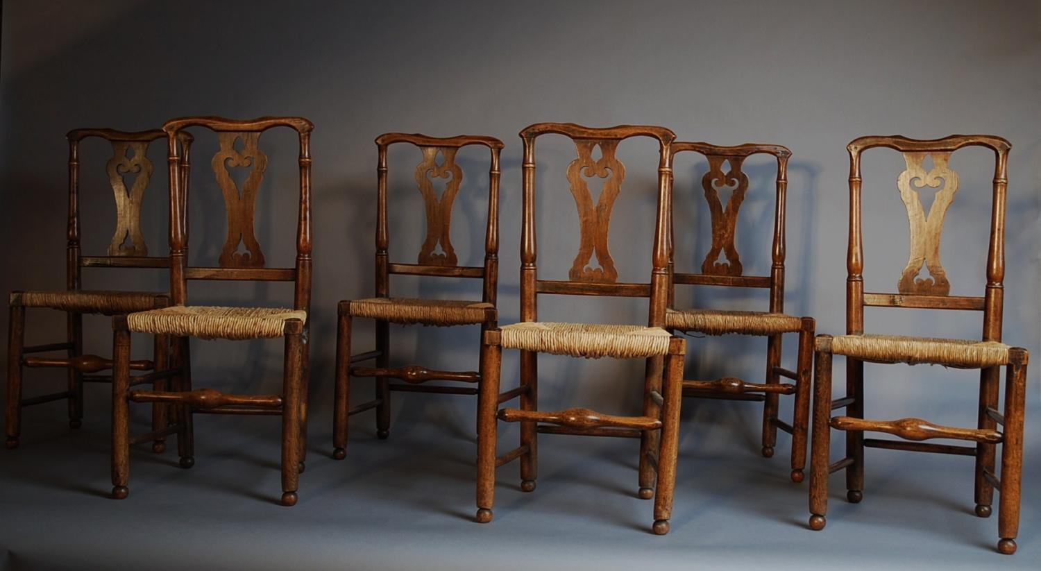Set of six fine quality ash country chairs