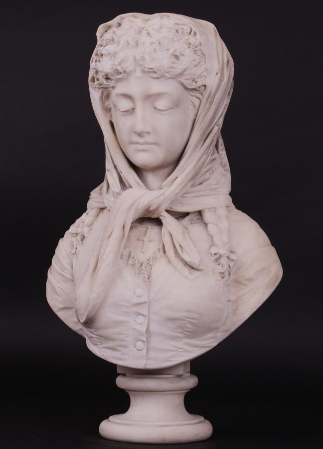 Italian Marble Bust Of A Young Lady