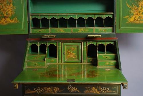 Chinoiserie lacquered bureau bookcase
