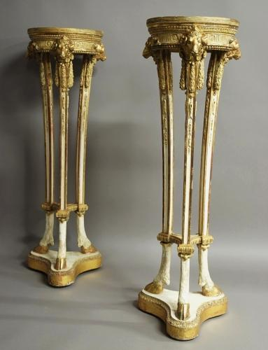 Pair of parcel-gilt and painted torcheres
