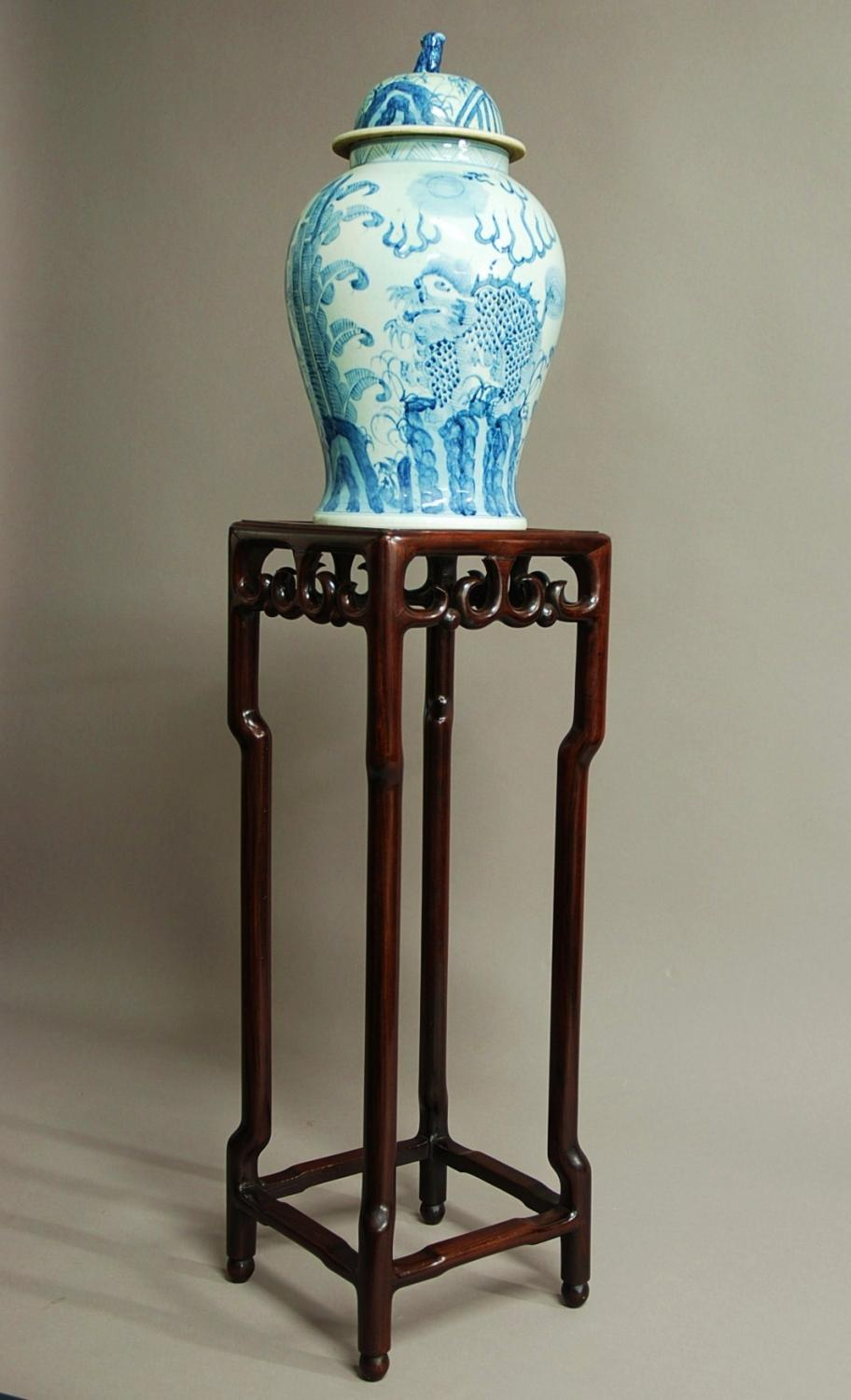Late 19th century Chinese hardwood pot stand
