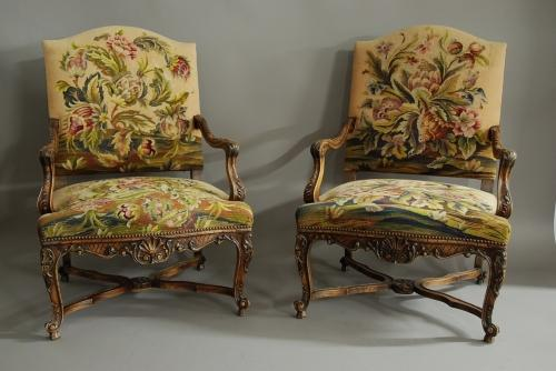 Pair of French 19th century walnut fauteuils