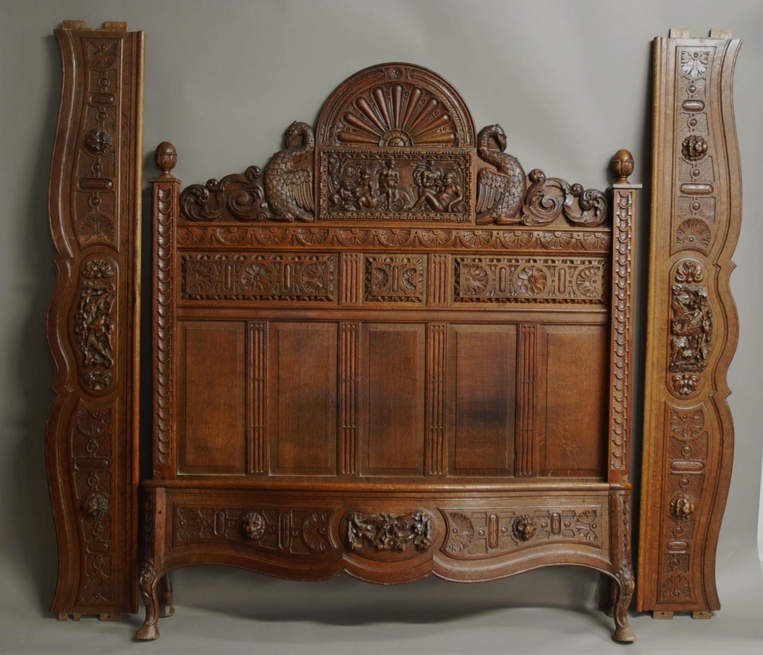 Carved French Mid/late 19th century oak bed