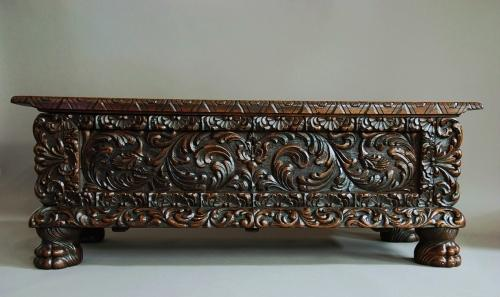 Late 19th century profusely carved oak chest