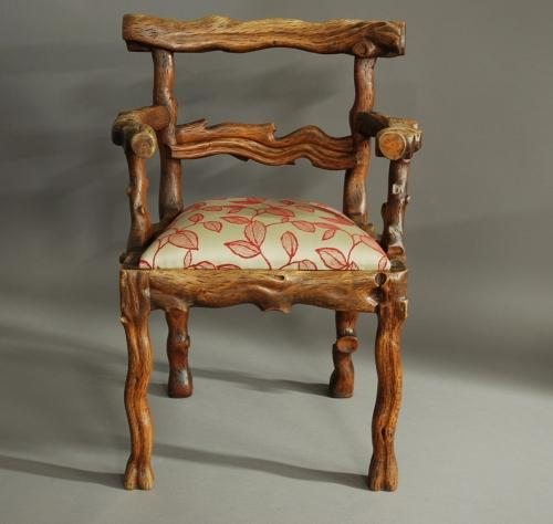 Rare mid 19th century elm carved armchair