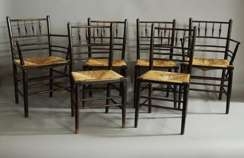 Set of six Morris & Co. Sussex chairs