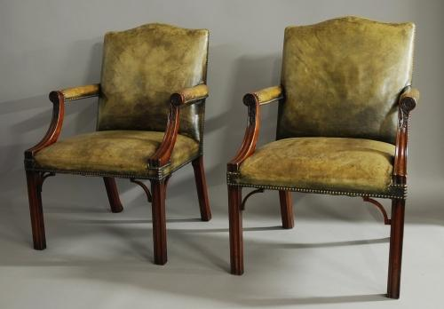 Pair of leather Gainsborough chairs