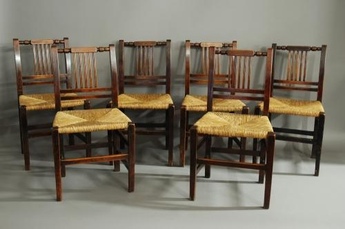 19th century set of six birch & rush chairs
