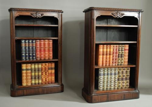 Pair William IV rosewood open bookcases