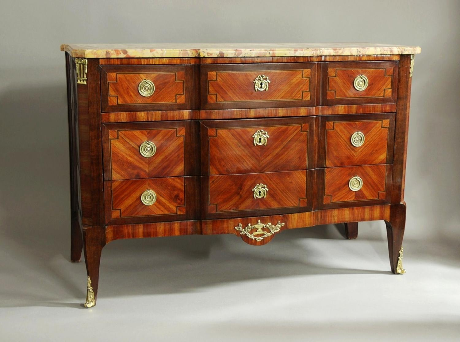 French 19thc Louis XVI style Kingwood commode