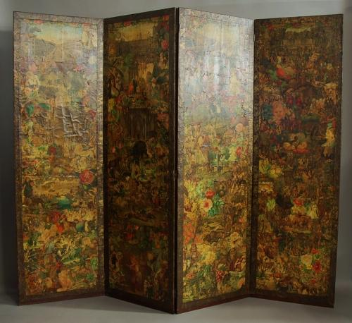 19th century four panel decoupage screen