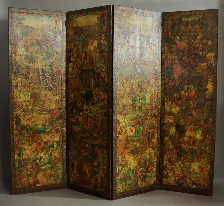 19th century four panel decoupage screen