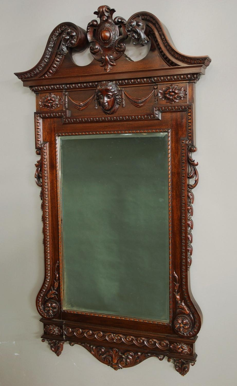 Mahogany mirror in the William Kent style