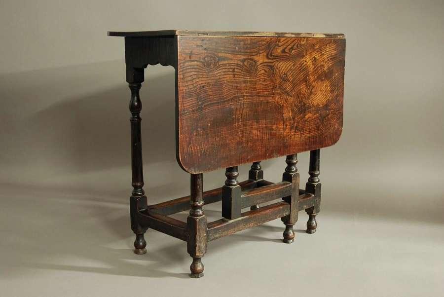 Rare late 17th century oak & ash side table