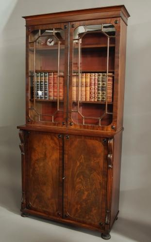 Early 19th century mahogany glazed bookcase