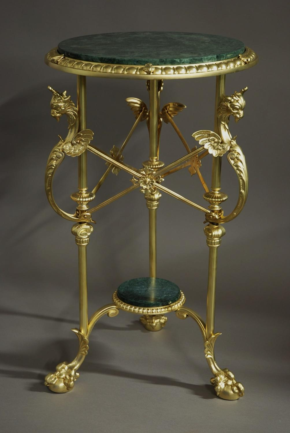 Early 20thc French gilt metal gueridon table