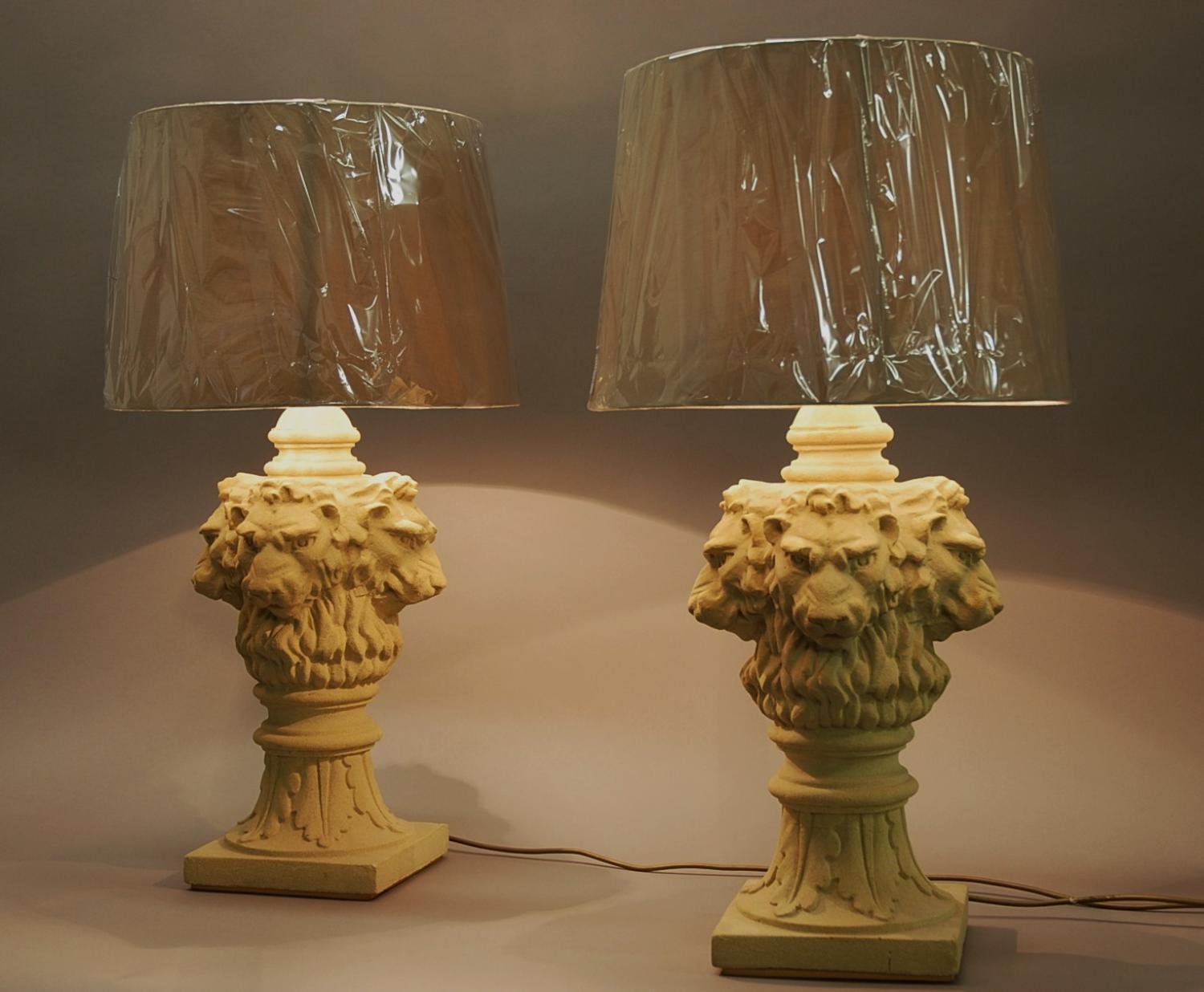 Pair of large lions head table lamps