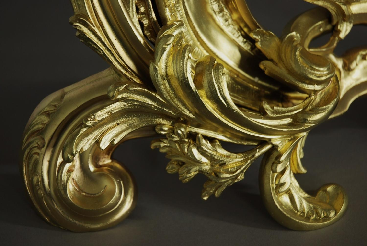 Pair of ormolu chenets in the rococo style in sold archive for What is the other name for the rococo style