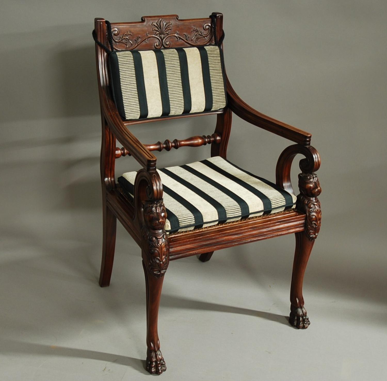 19thc mahogany open armchair, possibly Irish
