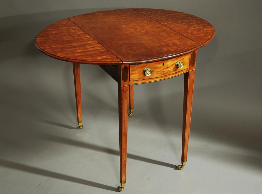 Late 19thc oval satinwood Pembroke table