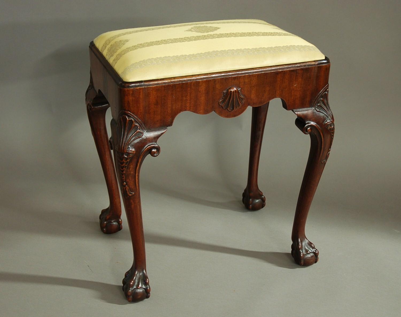 Early 20thc walnut cabriole leg stool