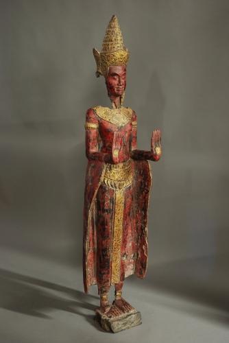 South Asian polychrome carved Buddha