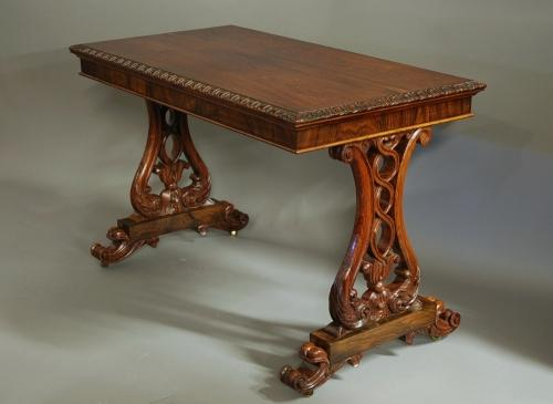 19thc rosewood writing table of fine quality