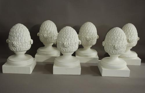 Set Of 6 Decorative Wooden Pineapple Finials In Sold Archive
