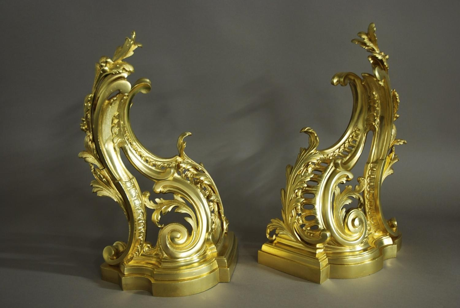 Pair of rococo style ormolu chenets in decorative for What is the other name for the rococo style