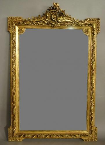 Large 19th century ornate French gilt mirror