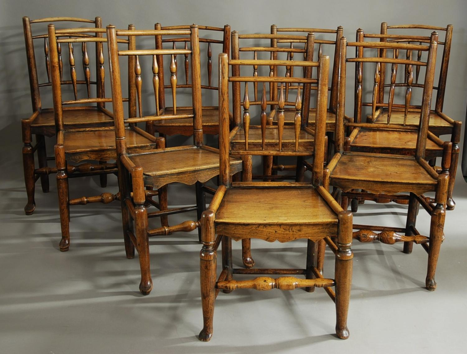 Harlequin set of ten spindle back chairs