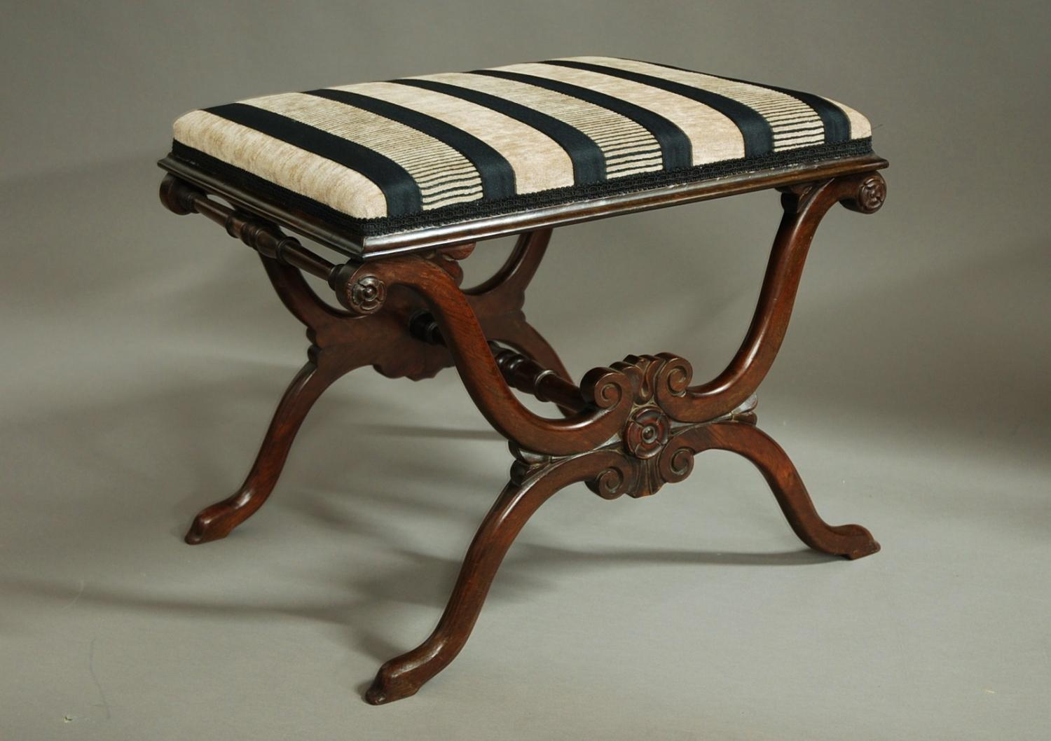 19thc rosewood X-frame stool of fine quality