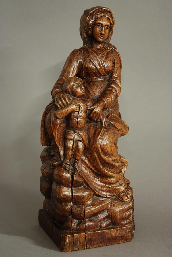 17th century Madonna & Child oak wood carving