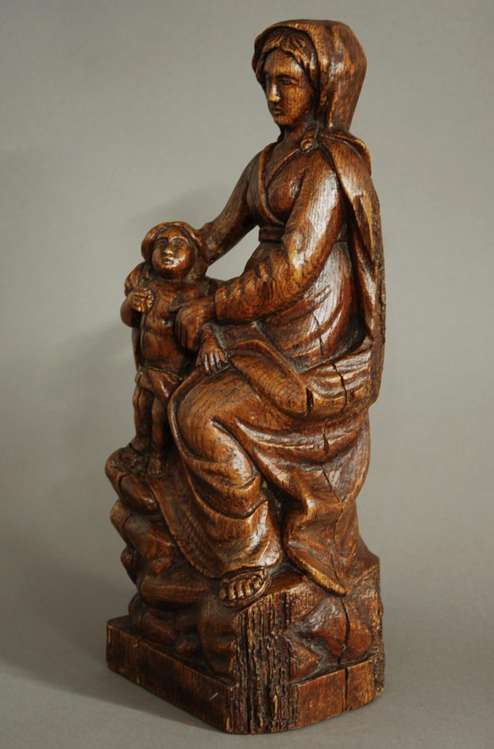 Th century madonna child oak wood carving in carvings